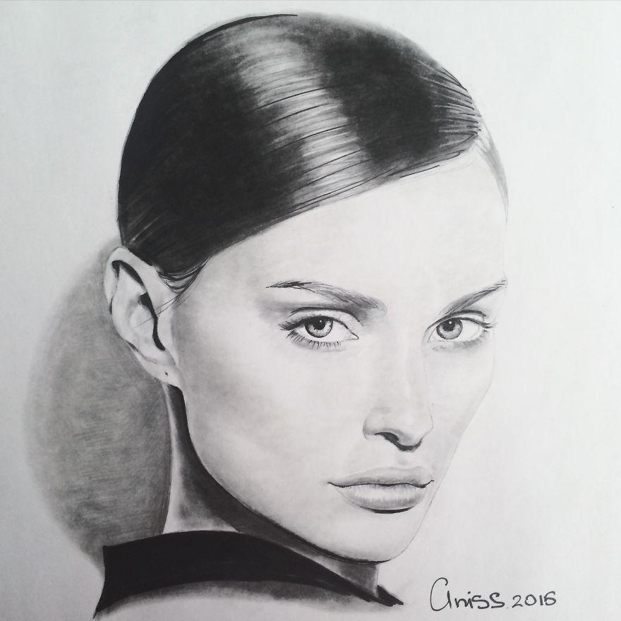 Realisticke Portrety Nakreslene Pouze Tuzkou Graficke Kresleni